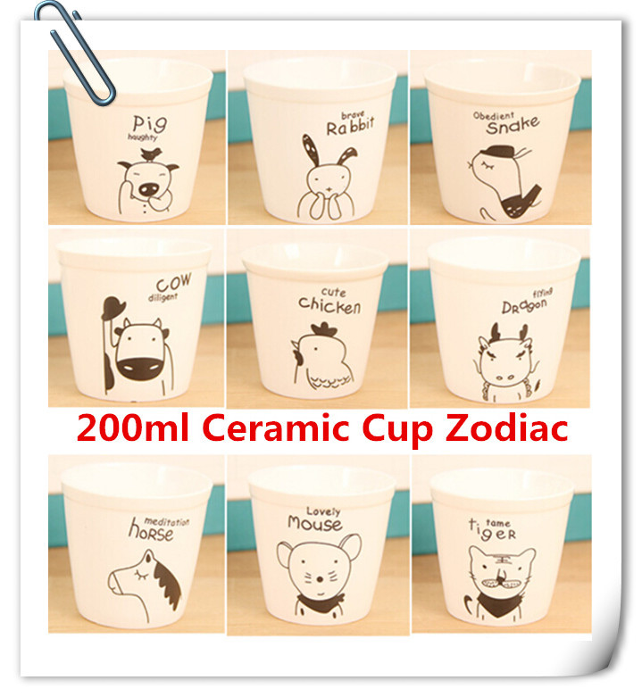 Promotion Price 200ml Ceramic Cup Zodiac Tea Cups Cute cartoon animals Coffee Cups white mugs free shipping(China (Mainland))