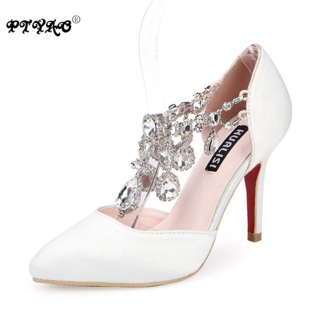 Высокое качество свадебные туфли свадебные 2016 горный хрусталь острым туфли на высоком ...