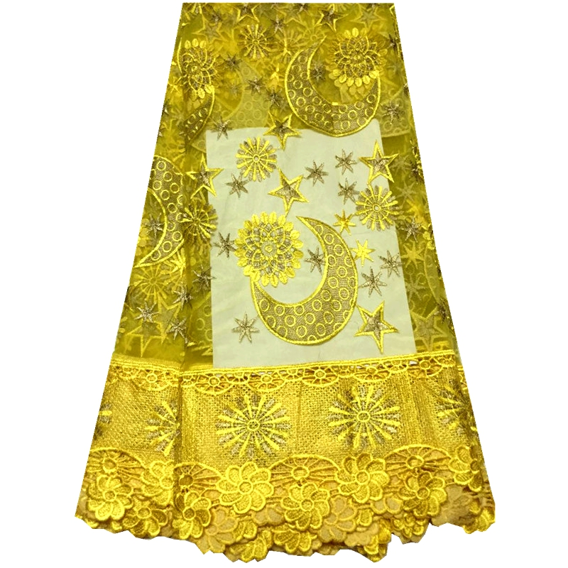 2016 Latest beaded african tulle french lace fabric high quality nigerian wedding african lace lemon yellow dresses for women(China (Mainland))