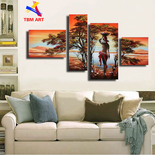 African Girl Picture Wall Art Painting Gift 100%  Real Handmade Modern Abstract  Oil Painting On Canvas Wall Art Decoration Z051