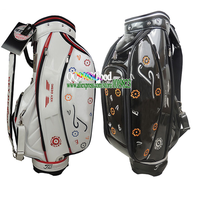 Здесь можно купить  New mens Golf staff Bag 9 inch black/white Color Golf Bags with bag headcover golf cart bag Free shipping  Спорт и развлечения