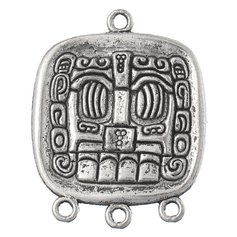 New Arrival 20PCs Hotsale Connectors 4 Holes Mayan Element Rectangle Silver Tone 3.7x2.9cm (Over $100 Free Express)(China (Mainland))