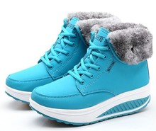 New women's winter slimming platform causal shoes design ladies warm high top fur wedge boots ladies shoes(China (Mainland))