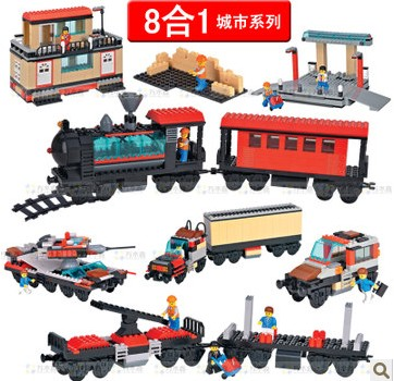 Фотография WOMA J5706 Train Station 8 in 1 Plastic Building Block Sets 721pcs Educational DIY Bricks Toys for children
