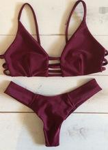 New bikini straped swimsuit bikinis women solid swimwear bathing suit print push up brazilian bikini 2016 maillot de bain femme(China (Mainland))