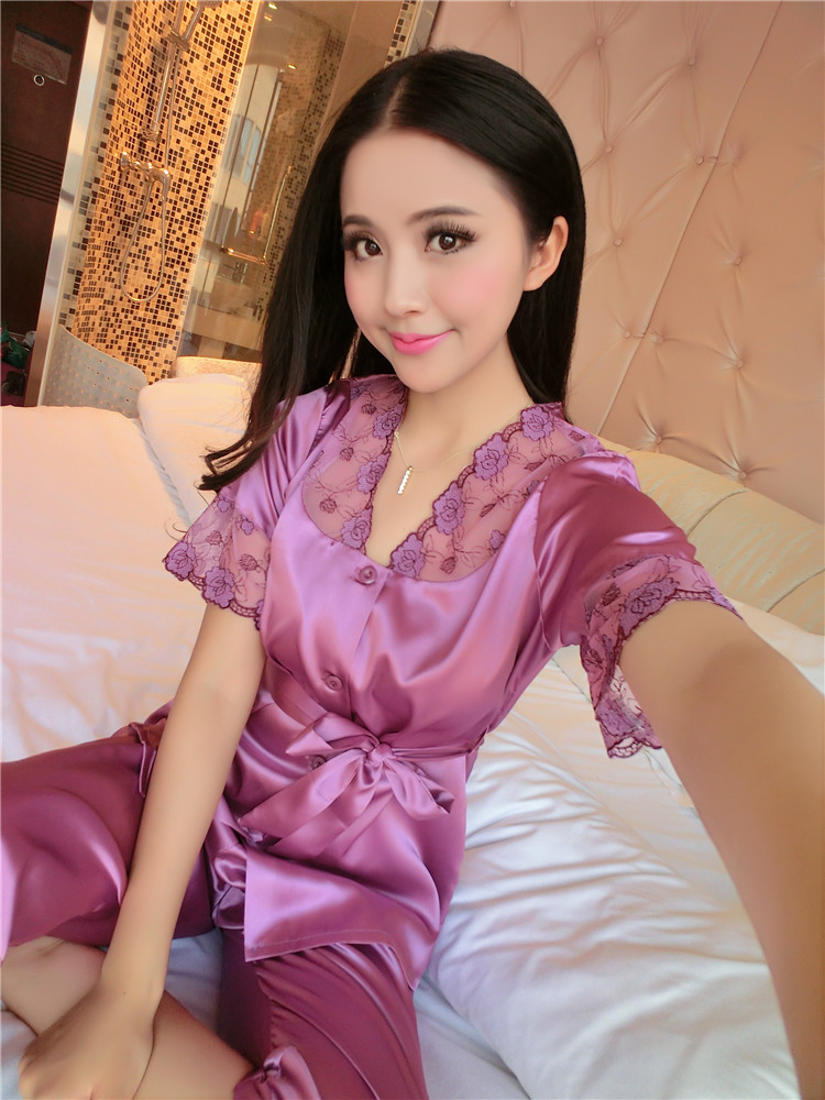 Women Sexy Silk Satin Pajama Set Short Sleeve Pyjama Femme Embroidery Pijama Set V-neck Sleepwear Plus Size Nightwear For Summer