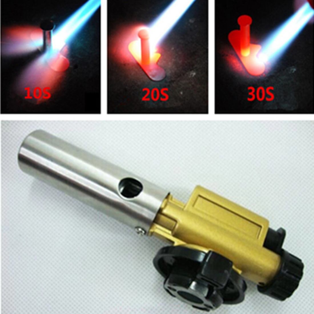 Electronic Ignition Copper Flame Butane Gas Burner Gun Maker Torch Lighter For Outdoor Camping Picnic Free Shipping(China (Mainland))