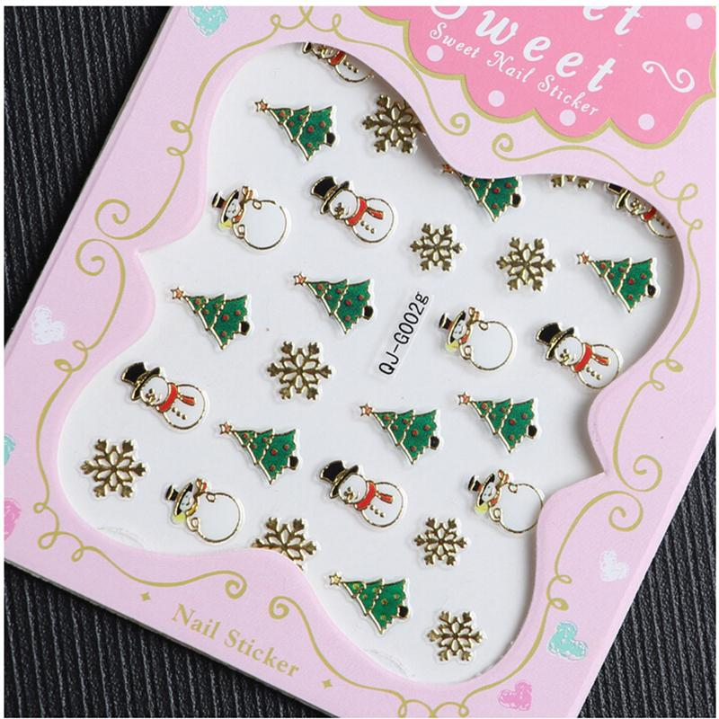 Hot 10 Designs Christmas Santa Snowman Tree Water Transfer Decals Nail Stickers 3D Manicure Tips Foil Polish Wraps Decorations(China (Mainland))