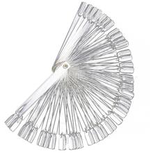 50 False Nail Art Fan Wheel Polish Practice Tip Sticks Foldable Beauty Practice Fan Clear hot selling