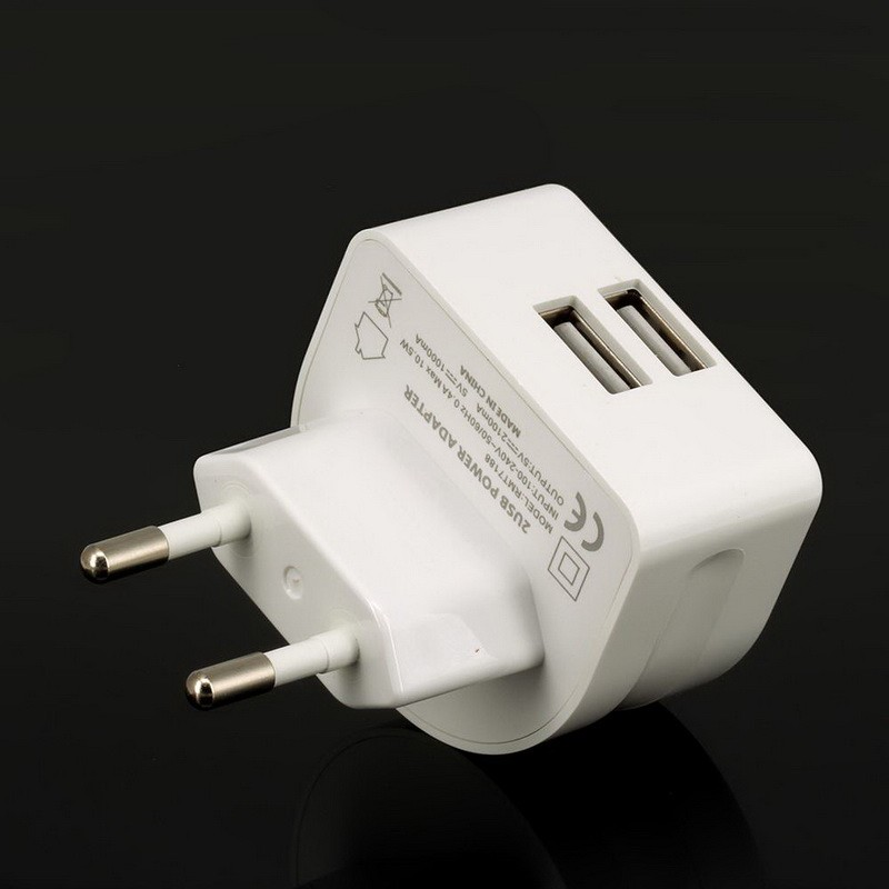 Super Fast 5V 2.1A EU 2 USB Port Micro USB Charger Wall Plug Mobile Phone Smart Charger Power Adapter for iPhone Samsung Tablet