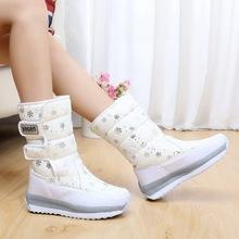 2015 mujeres impermeable botas de nieve copo de nieve de algodón súper calientes zapatos de plataforma de invierno botines de las mujeres(China (Mainland))