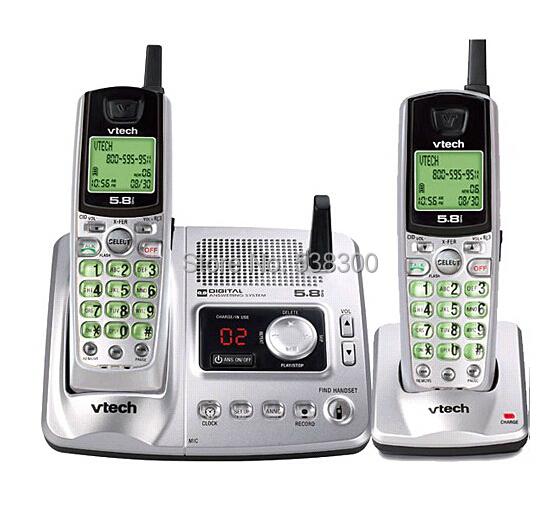 Free Shipping Vtech ia5870 - 5.8 GHz Two Handset Cordless Phone System w/ Digital Answering Device & Caller ID(China (Mainland))