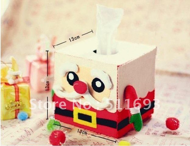 X mas decoration tissue box christmas felt tissue box for Application box decoration