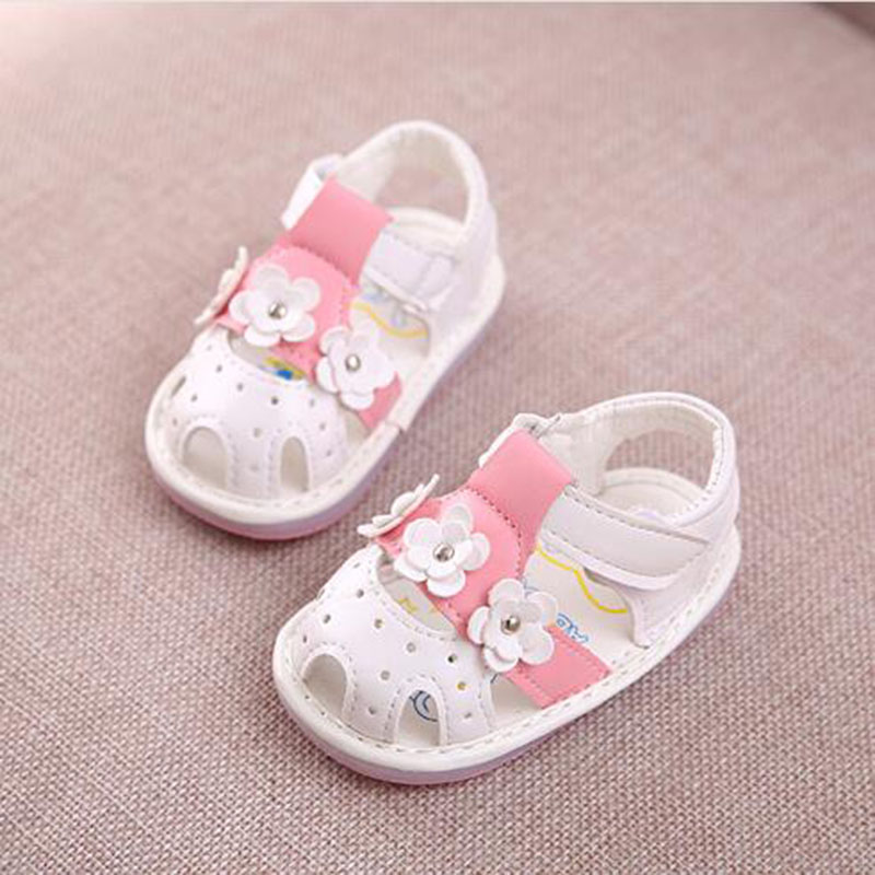 Children Soft Soled Antiskid Shoes Toddler Flowers First Walkers 2016 Baby Girls Closed Toe Cut Out Leather Shoes 2016 Hot(China (Mainland))