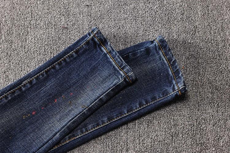 Скидки на Punk Стиль Женщины Корейской Моды Письмо Печати Джинсы Брюки Женщина Синий Ripped Тощие Лодыжки Джинсы Femme