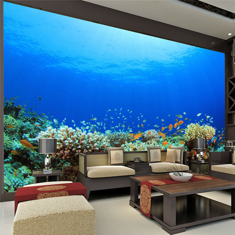 Large size custom wallpaper ocean coral photo wallpaper for 3d aquarium wallpaper for bedroom