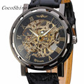 CocoShine A 888 Classic Men s Black Leather Dial Skeleton Mechanical Sport Army Wrist Watch wholesale