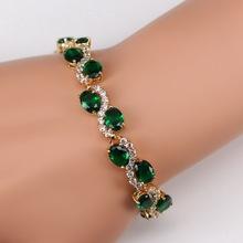"""SS' Green Emerald White Topaz Jewelry 18K Yellow Gold Charm Bracelets For Women Free Gift Box KMB0026(China (Mainland))"