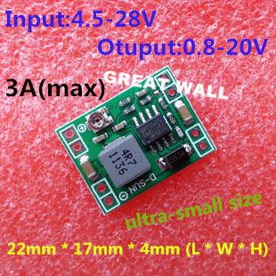Free Shipping 1PCS Ultra small size DC DC step down power supply module 3A adjustable step