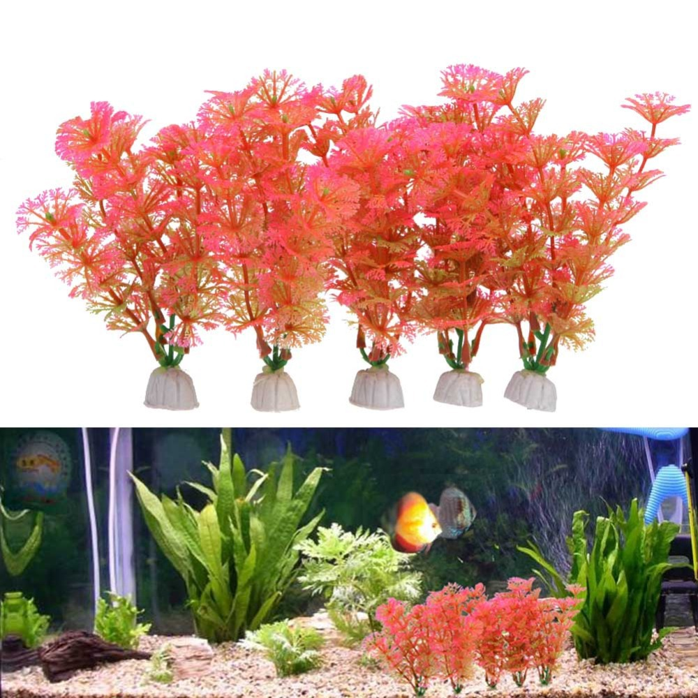 5 pcs artificial plastic simulation aquatic red water for Aquatic decoration