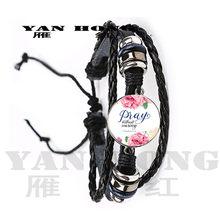 Pulsera de fuente artística amor joyería de moda versículos de la biblia cita cabujón de cristal de 18mm pulsera de cadena chapada en plata regalo hecho a mano(China)