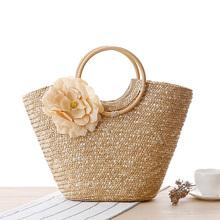 48*28cm Boho Straw Bag Summer Beach Bag Lady Crochet Basket Handbag Rattan Woven Silk Flower Candy Color Tote Bag Bohemia Style