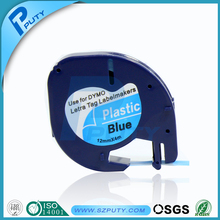 12mm black on blue Dymo LetraTAG plastic label tape LT-91205 compatible Dymo LetraTAG printer