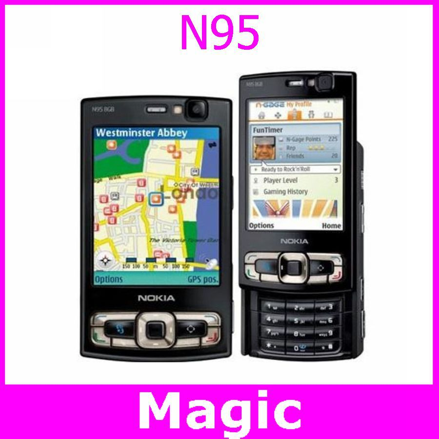 Original unlocked Nokia N95 8GB cell phones Quad-band GPS 2.8 inch TFT Screen FM radio 5MP camera Free shipping(China (Mainland))