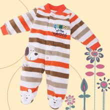 2015 New Fashion Warm Lint Baby's Long Sleeve Rompers Crawl Suit Striped Jumpsuit(China (Mainland))