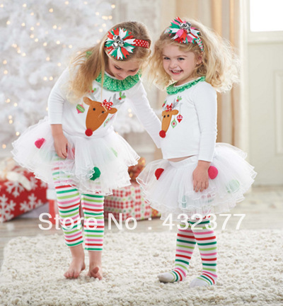 New 2015 girls clothing sets Christmas elk suit girls cotton suit New Year outwear suit kids 1T~6 years old supply wholesale(China (Mainland))