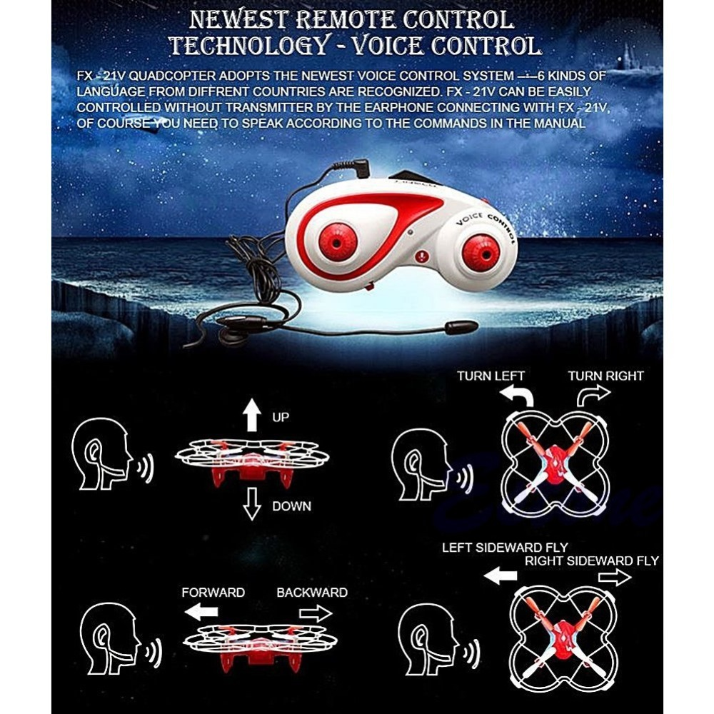 Free Shipping FX 21V Voice Remote Control 2 4G 6 Axis RC Quadcopter UFO Drone Helicopter