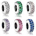 925 Sterling Silver 6 Colors Round Wedding Charms Beads Fits Europe Bracelet Authentic Inspiration Within Spacer
