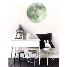 30 см 3D Луна светится в темноте; блестящие светящиеся домашняя Настенная Наклейка для комнаты Стикеры(China)