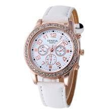 2019 moda damska genewskie zegarki ze stali nierdzewnej analogowy skórzany zegarek kwarcowy zegarek na rękę Rhinestone kryształ Lady sukienka zegarki na rękę(China)