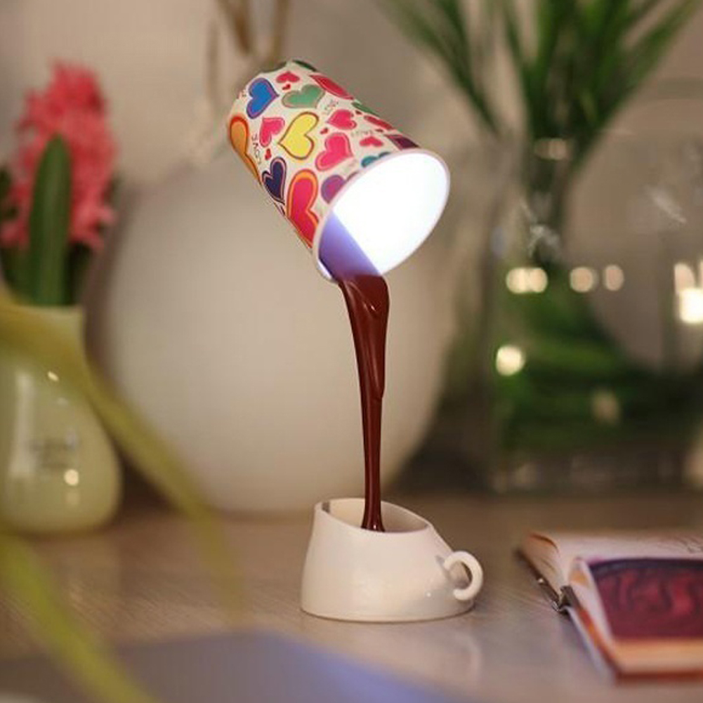 New Creative Coffee Pour Lamp With USB Battery DIY Table Lamp Eye Protection Desk Lamp Peculiar New LED Nightlight Wholesale(China (Mainland))