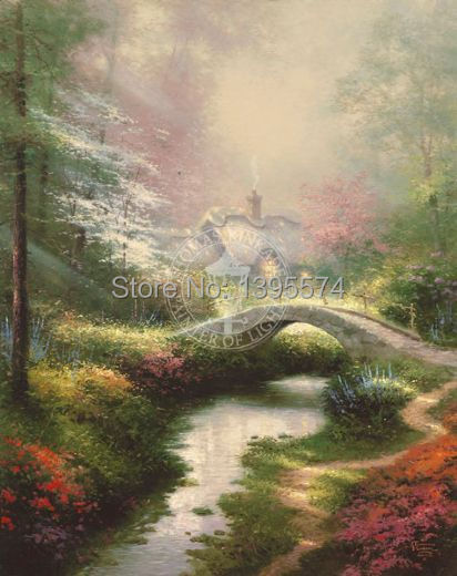 Free Shipping Hot Sale Thomas Kinkade Brookside Hideaway Hand Made Landscape Canvas Oil Paintings Wall Art For Living Room(China (Mainland))