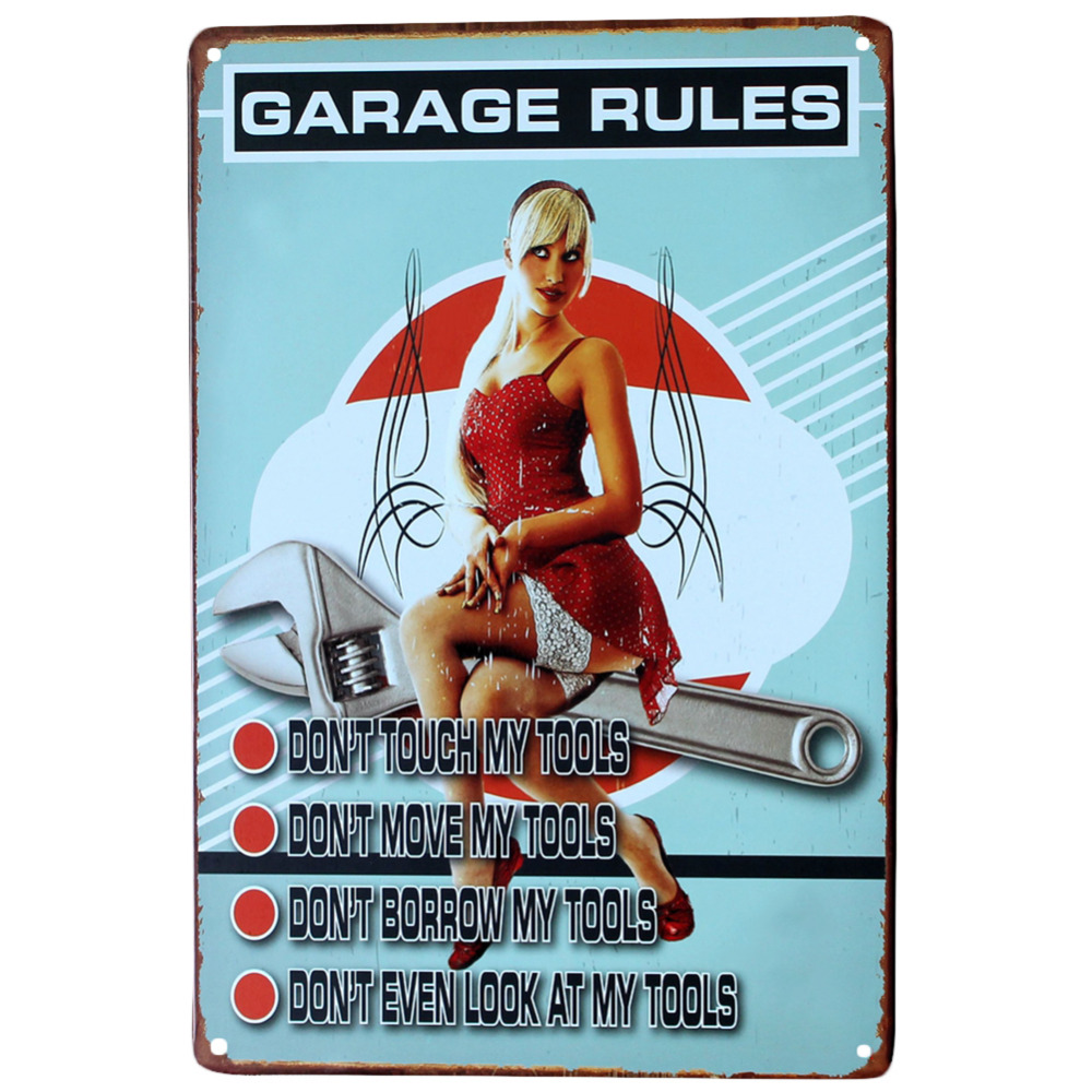 Wall Art Wall Stickers Home Decor Garage Rules Wall