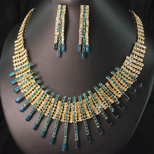 Rhinestone 18 K Gold Plated Costume Wedding Necklace Earrings Jewelry Promotion Fashion Crystal Indian Bridal Jewelry Sets