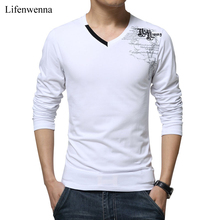 Buy T Shirt Men Long Sleeve New Fashion 2017 Print Spring Men's Brand Clothing Casual Slim V-neck Cotton T shirt Homme Tees M-5XL for $9.89 in AliExpress store