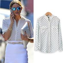 2015 Fashion Women's Spring Autumn White Blouse Long Sleeve Casual Shirt Polka Dot Print Shirt Plus Size Tops Blusas Femininas(China (Mainland))
