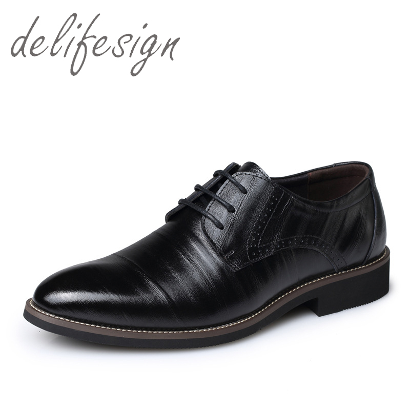 New 2016 Oxford Shoes For Men Dress Shoes Genuine Leather Shoes Business Flats Black Mens(China (Mainland))