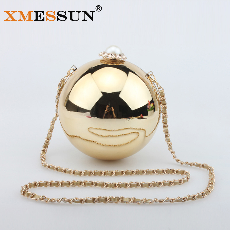 Famous Brands Circular Pearl Evening Bag Women Shoulder Bags Crossbody Gold Bags for Party Day Clutches Purses and Handbag(China (Mainland))