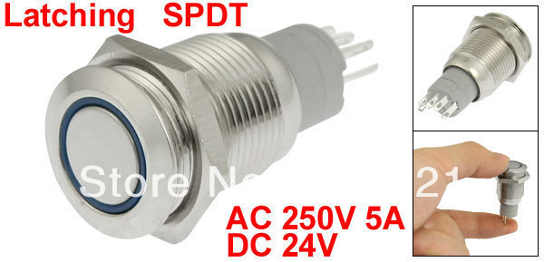 DC 24V Angel Eye Blue LED Light 16mm Stainless Steel Latching Push Button Switch
