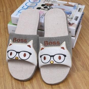 2015 New Arrival Summer Cotton Fabric Linen Slippers at home indoor slip-resistant floor Men Sandals Flax Shoes