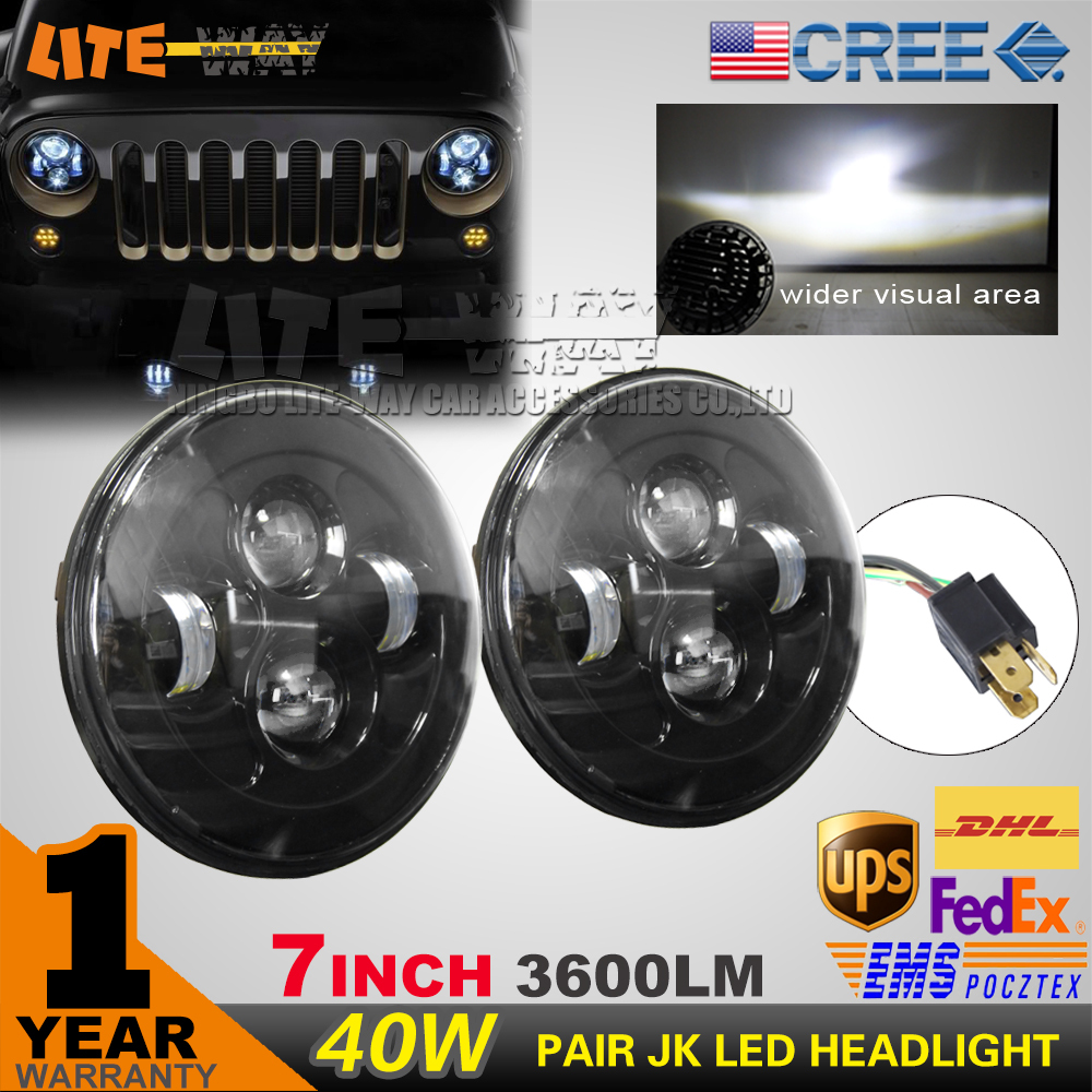 "7"" round 40w led headlight for Jeep Wrangler 10w cree xpg chip,off road 4x4 use motorcycle offroad truck SUV boat(China (Mainland))"