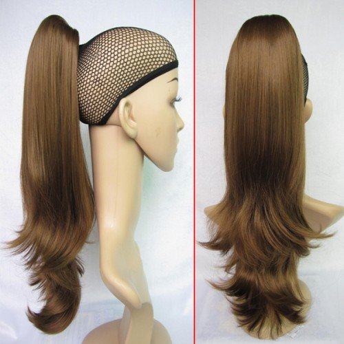 Promotional Hot Sale Ladys Fashional Hairpiece Long Loose Wavy Ponytail Hair Extension #6/12 Medium Brown Free Shipping<br><br>Aliexpress