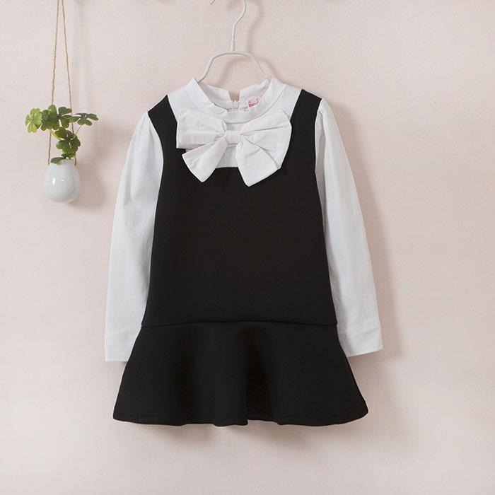 Black School Dresses Uniforms For Little Girls Long Sleeve Formal Schoolgirls Bow Collar Blouse Dress Kids Spring Clothes(China (Mainland))