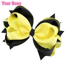 Buy 5.5 Inches Yellow Black Hair Bows Girls Hair Clip Hairpins Flower Headband 2017 Cute Headwear Girls Hair Accessories for $1.43 in AliExpress store