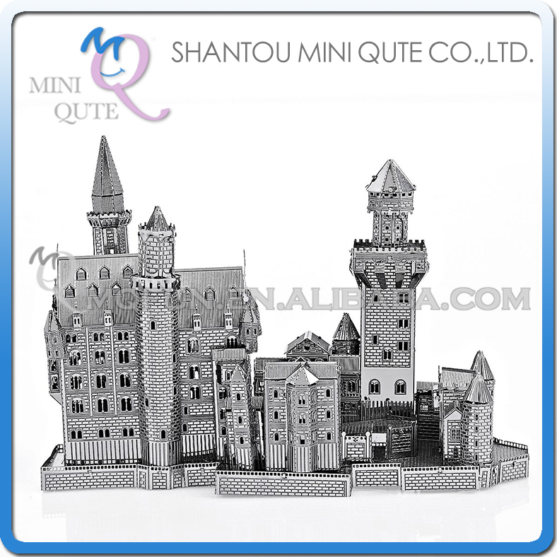 50pcs/lot Mini Qute 3D Metal Puzzle Silver Swan Stone Castle world architecture Adult model educational toys gift NO.P013-S(China (Mainland))