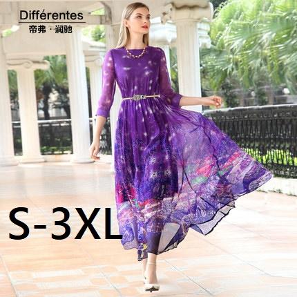 2016 spring and summer Dress Women 100% silk dresses  three quarter sleeve o-neck long design full one-piece dress Vestidos